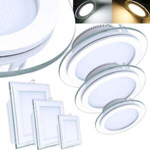 LED Panel Glas Einbaustrahler Deckenleuchte Einbau Beleuchtung eckig rund flach