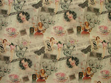 7 Metres French Huit Pin Up Girl Cotton Fabric Curtain Quilting Patchwork Craft