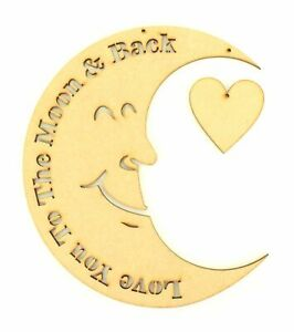 I love you to the moon and back Wooden MDF Craft Quote Sign Bedroom Girls Boys