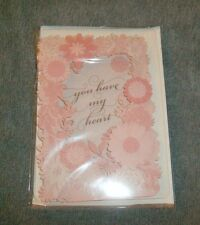 Valentine's Day Signature Hallmark YOU HAVE MY HEART w/pink flowers border - New