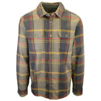 prAna Men's Charcoal Gold Red Plaid L/S Flannel Shirt (S09)