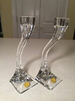 """NEW Vintage Pair Mid-Century Modern RIEDEL """"DUETTO"""" Austria Crystal CANDLESTICKS"""
