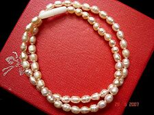 "16.25"" PEACH FRESHWATER PEARL NECKLACE WEDDING CHINESE BIRTHDAY WOMEN PARTY H12"