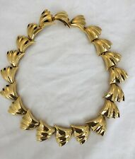 Vintage Fifth Avenue Collection Gold Metal Collar Leaf Necklace