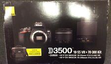 Nikon D3500 Digital Camera Kit 18-55mm & 70-300mm Shutter:249/serial # 3007