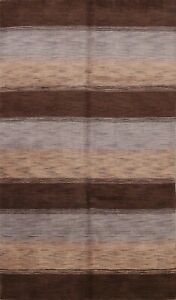5x8 Contemporary Striped Hand-knotted Gabbeh Area Rug Distressed Oriental Carpet