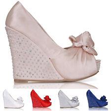Nuevo Para Mujer Boda Plataforma Cuña señoras Bridal Sandalias noche PROM Zapatos