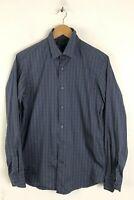 BANANA REPUBLIC Mens Size Small 14-14.5 Blue & Gray Striped Slim Fit Shirt