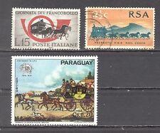 Postkutschen, Italien, Südafrika, Paraguay, 3 Briefm.