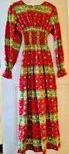 Vtg 60s 70s Maxi Dress Floral Corset Waist Boho Hippie Drama Jack Hartley Miami