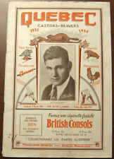 1933-34 New Haven vs Quebec Beavers Program