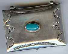 VINTAGE NAVAJO INDIAN STERLING SILVER TURQUOISE PILL BOX