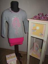 NEU Mim Pi Kleid 4 J. 104 Sweatkleid Stickerei grau pink Minirock lange Arme