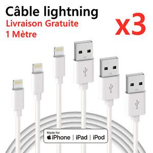 CHARGEUR POUR APPLE CABLE 1M USB IPHONE SE/5S/6/6S/7/8/X/XS/XR/11/12/13/Pro