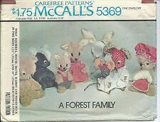 M 5369 sewing pattern Wolf Squirrel Mouse Skunk Rabbit Woodchuck sew Toys Uncut