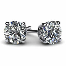 2 Ct Round Earrings Studs Solid 14k White Gold Brilliant Cut Screw Back Basket