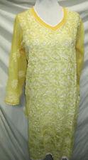 Elegance chikan full hand embroidery long   chiffon  kurta/top size S  37