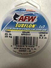 AFW Surflon Nylon Coated 1x7 Stainless Leader Wire 45 Lb Bright 30 Ft C045T-0