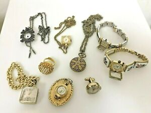 Lot Vintage Ladies Watches Pendant Bracelet Cufflink & Ring Style for Repair