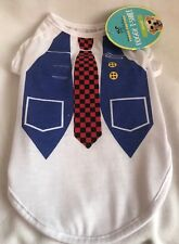 Pouch Couture - Doggy Tshirt - Waistcoat & Tie Design - Small - Brand New