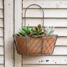 Chicken Wire Oval Wall Planter w Terra Cotta Pot Indoor/Outdoor Wall Planter New