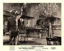 The Trouble Shooter original lobby card Robert Mitchum fires gun in saloon bar