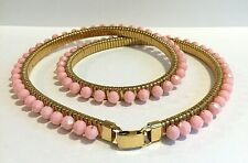Vntg Stretch Belt Watchband Style Gold Tone Metal w/ Faceted Pink Plastic Beads