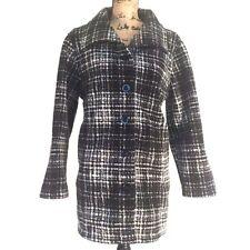 Ellen Reyes Black White Plaid Fleece Jacket Coat - Size XL EUC
