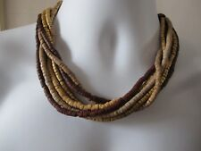 Wooden Beaded Multi Row Brown, Gold and Cream Necklace 46cm