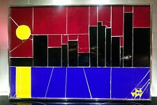 Vintage Modernist Glass Mosaic Cityscape Skyline Art Signed 3D Abstract