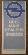OPEL MAIN SALES & SERVICE DEALERS in the UK orig 1970s Brochure Booklet