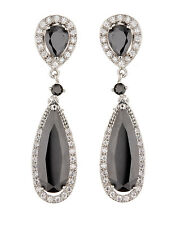 CLIP ON EARRINGS - silver luxury drop earring with black CZ stones - Bano