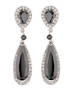 CLIP ON EARRINGS - silver luxury drop earring with black CZ stones - Bano
