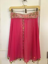 BELLY DANCER COSTUME FROM EGYPT HOT PINK W/BEADED TOP AND WAIST GIRLS SIZE 7-8