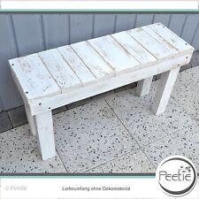 Shabby Vintage Sitzbank Holzbank weiß Gartenbank Bank Holz grau Küchenbank alt