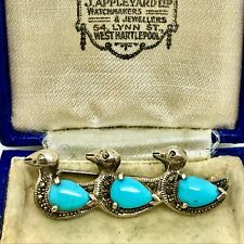 Vintage Silver, Turquoise & Marcasite Ducks Brooch