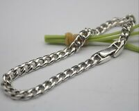 New Sterling S925 Silver Bracelet Fashion Curb Chain Man's Link Jewelry 7.8''L
