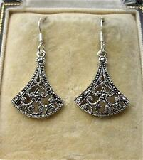 Stunning Deco Design Marcasite & Silver Drop Earrings
