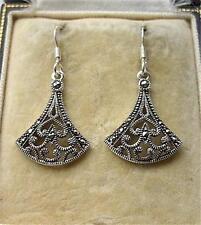 Stunning Deco Design Marcasite & Silver Drop Earrings