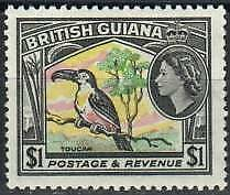 British Guiana Stamp - Toucan, only bird in set Stamp - NH