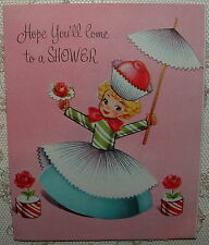 UNUSED - Cupcake, Candy Girl on PINK - 1950's Vintage Shower Invitation Card