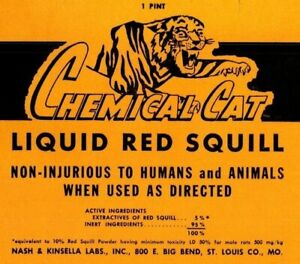 Chemical Cat Liquid Red Squill Rat Killer can label vintage yellow