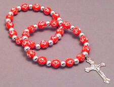 Christian Bracelet Set STAMPED CROSS BEAD Silver Accent Crucifix RED - LOW STOCK