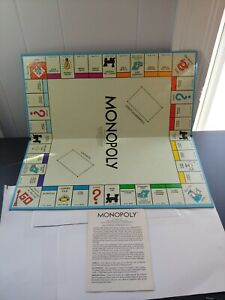 1961 Monopoly Replacement Board And Game Rules
