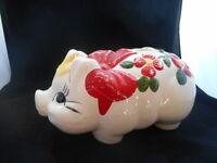 Rare Vintage Antique 1930s 40s 1950s Art Pottery Piggy Bank Pig Mccoy Redwing ?