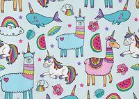 A1 Funny Unicorn & Llama Poster Art Print 60 x 90cm 180gsm Kids Cool Gift #15404