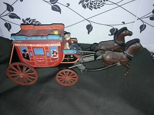 vintage toys  tin U.S. MAIL Overland Stage Express  operated battery