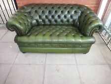 A Pentdragon Green Leather Chesterfield Buttoned Sofa Settee