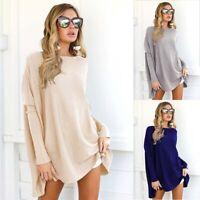 Women Size Batwing Jumper Sleeve Tops Mini Dress Plus Sweater Long Casual Tunic