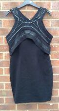 New Novo London Stud Detail Bodycon Black Mini dress UK Medium 12 CC18